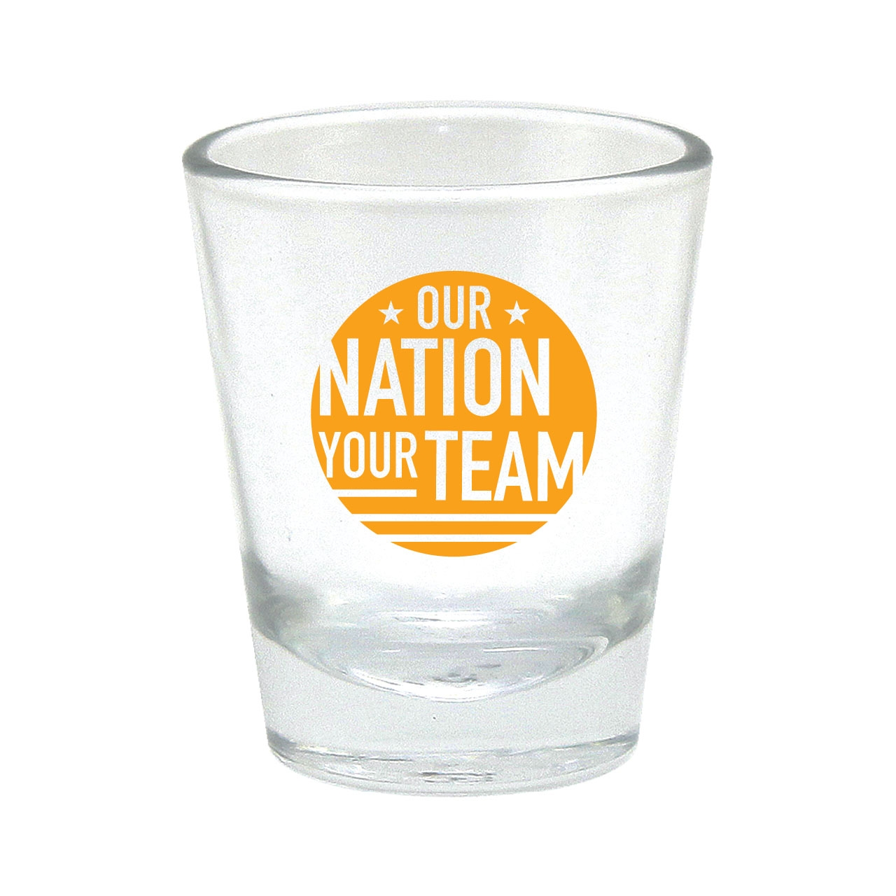 OUR NATION YOUR TEAM SHOT GLASS YELLOW