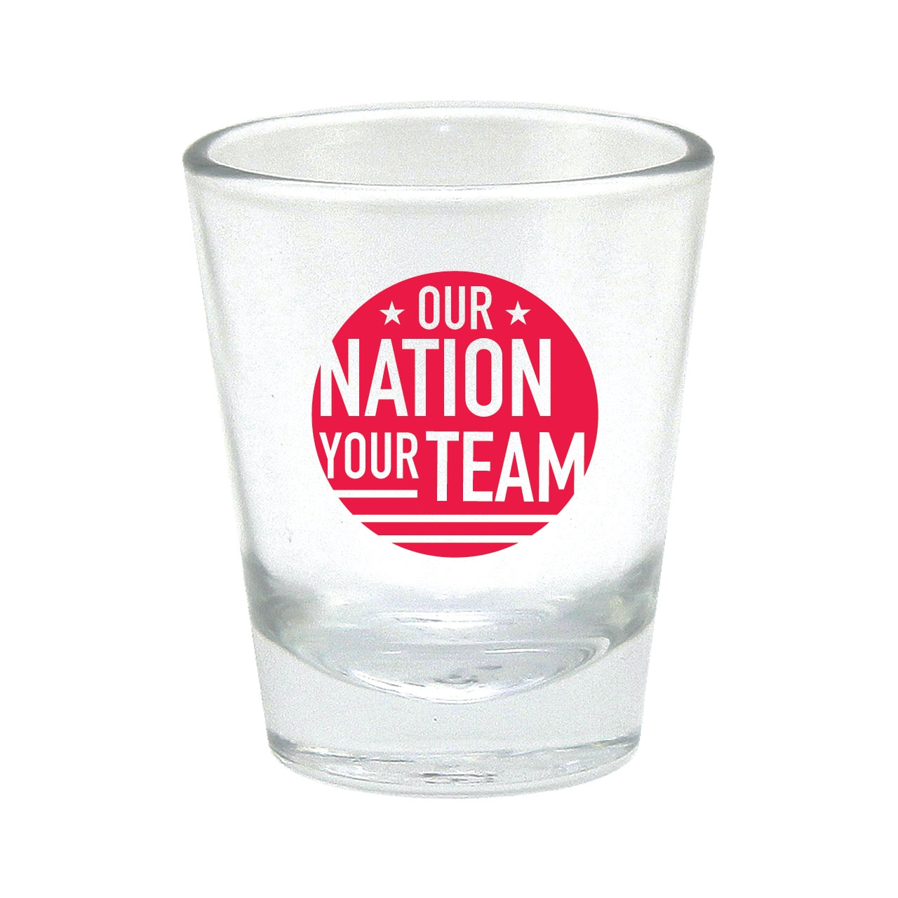 OUR NATION YOUR TEAM SHOT GLASS RED