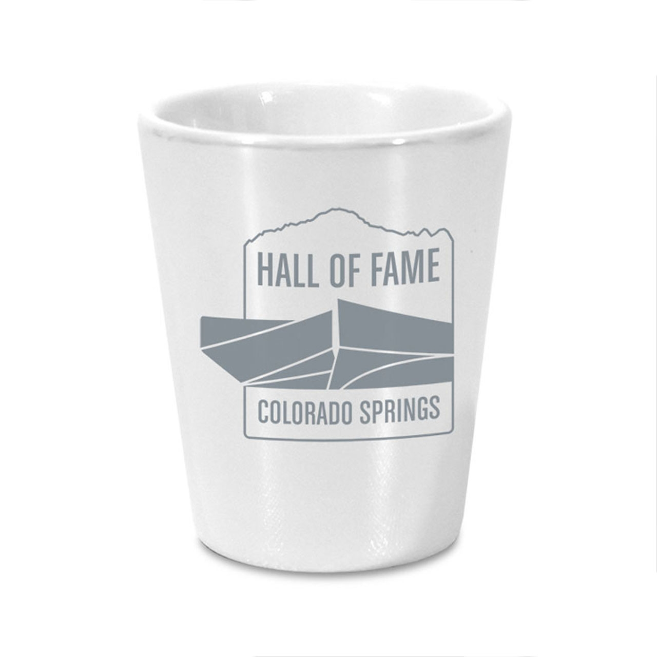 HALL OF FAME 2 OZ WHITE SHOT GLASS
