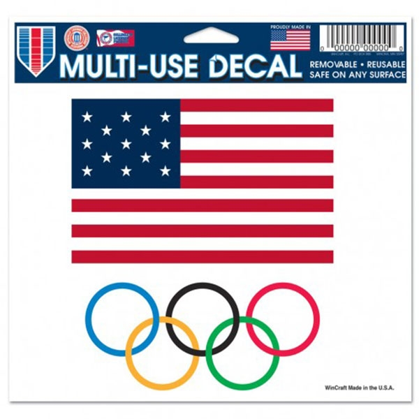 OLYMPIC RINGS US FLAG 5X6 DECAL