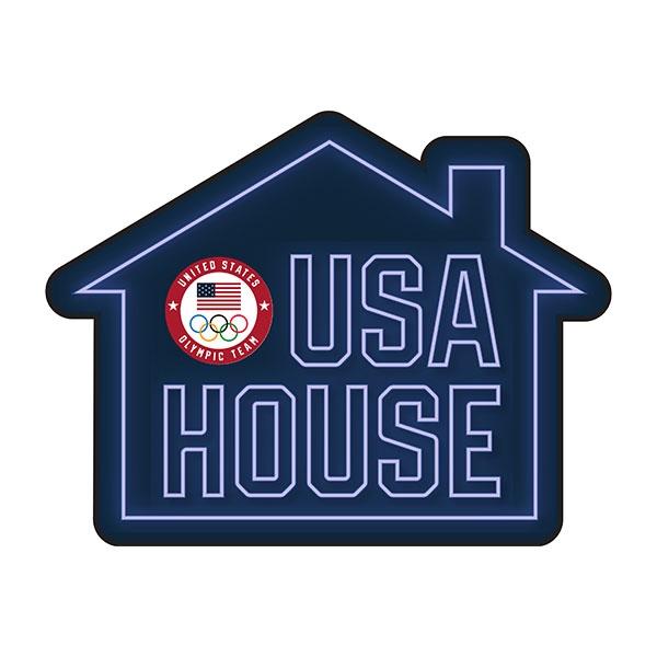 USA NEON HOUSE MAGNET